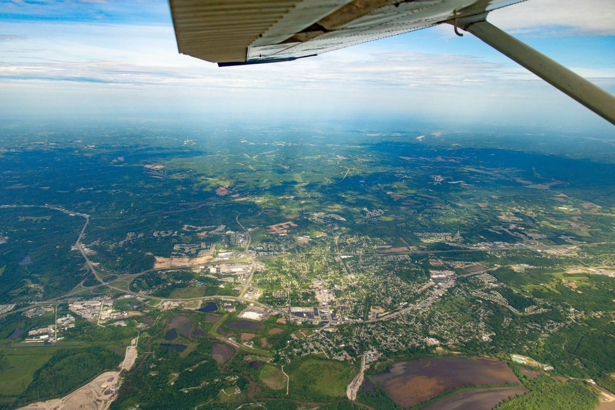 Aerial view of the gateway to the west from a skydiving plane at Skydive St Louis near Chicago
