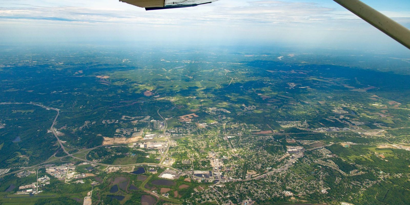Aerial view from a skydiving plane at Skydive St Louis
