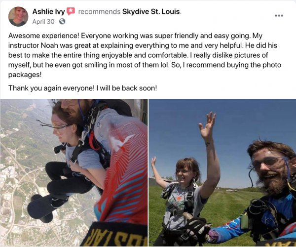 Facebook review of Skydive St. Louis