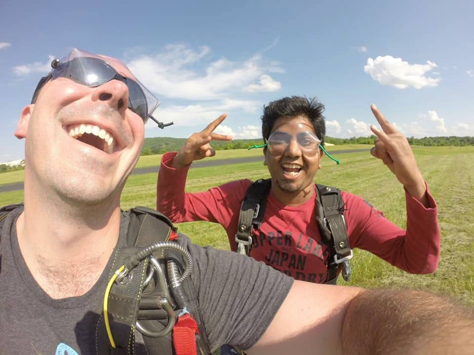 First time skydiver pumped after landing at Skydive St Louis near Chicago