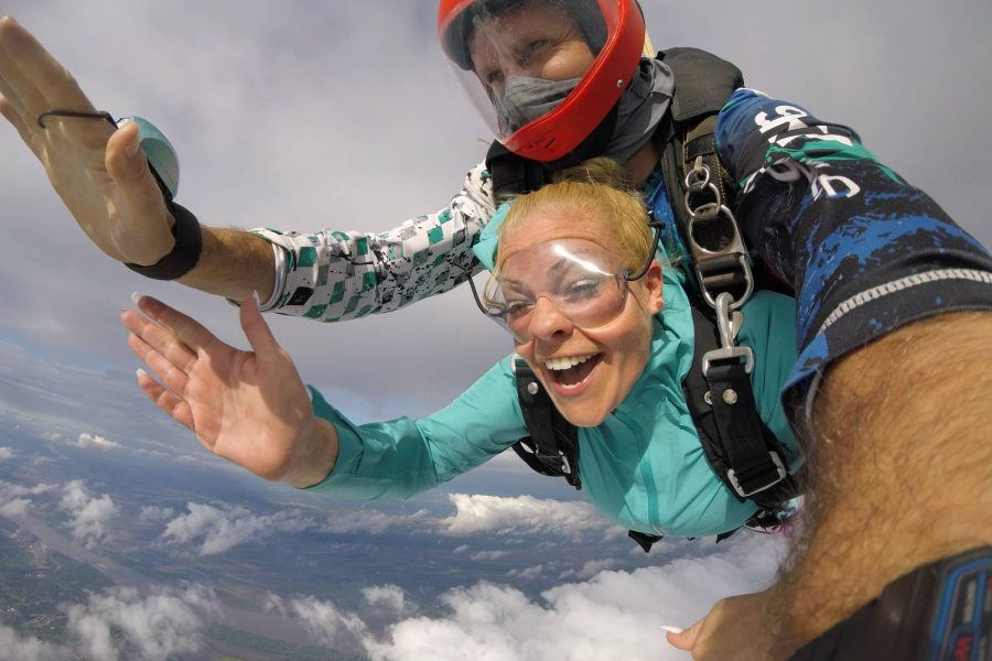 The skydiving season ends in late fall when it gets cold in St Louis