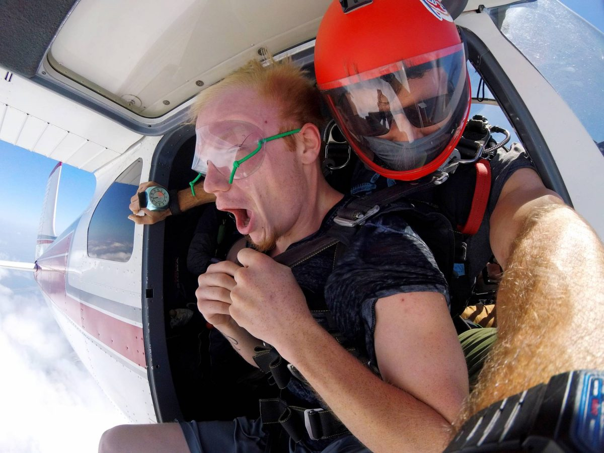 Man about to jump out of a plane at Skydive St Louis near Chicago