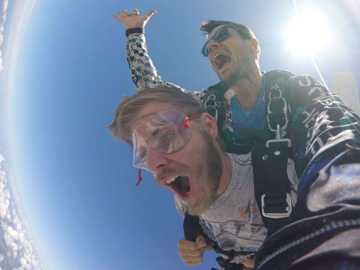 Man in shock during freefall at Skydive St Louis near Chicago