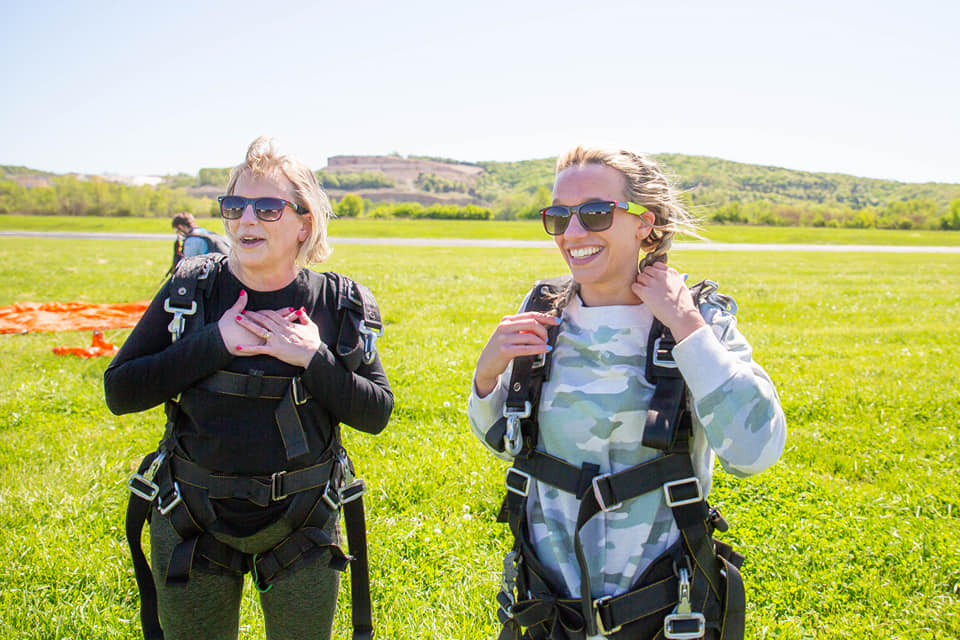 Mom & daughter smiling after their skydive at Skydive St. Louis near Chicago