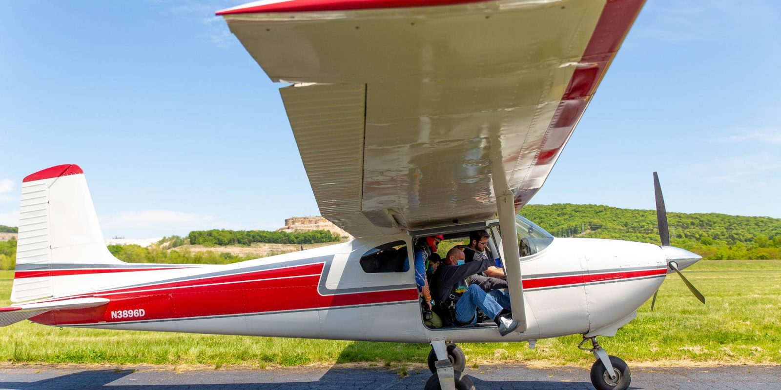 Tandem skydiving plane about to take off and is within the weight limit