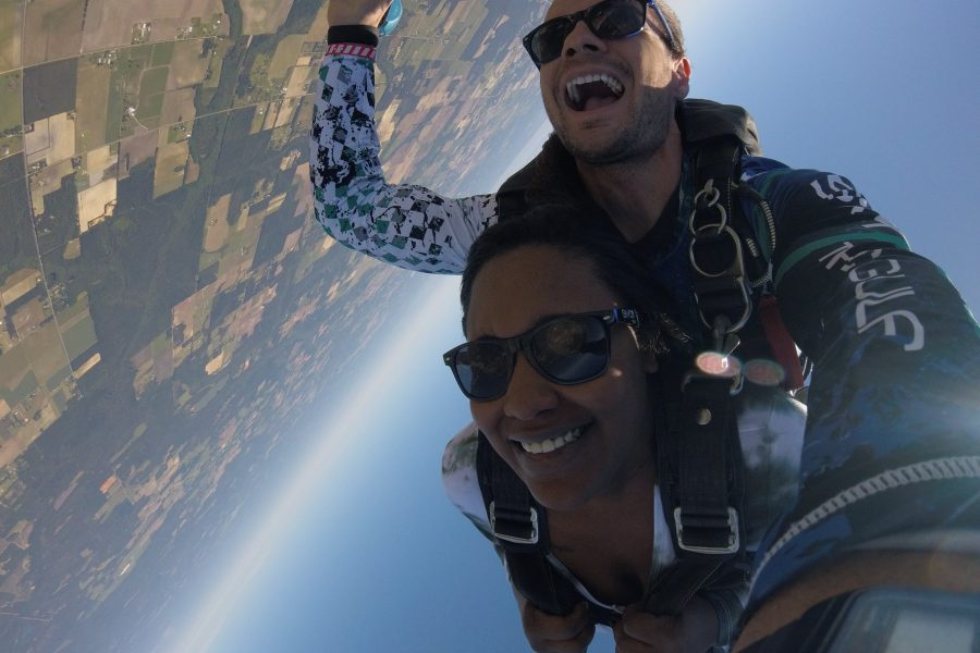 Tandem skydiver in free fall over Missouri at Skydive St Louis near Chicago