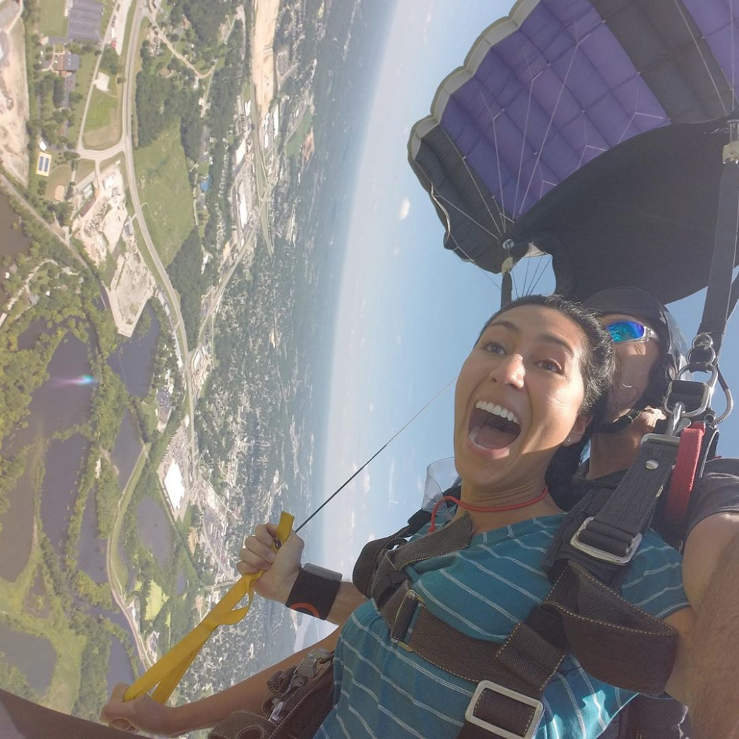 Woman skydiving near the Missouri Illinois border at Skydive St. Louis