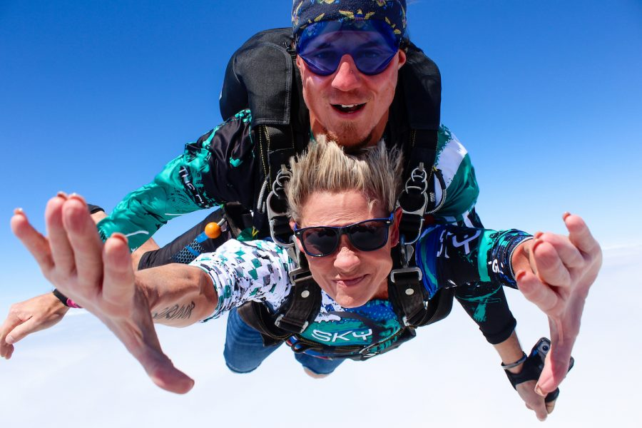 A women tandem skydiving with Luke Church.