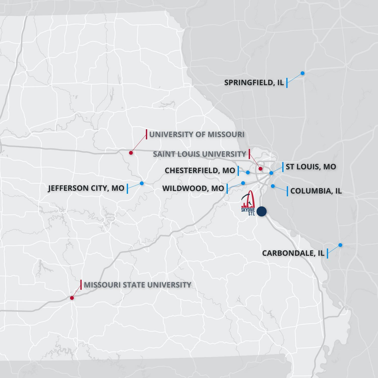 A map of where Skydive STL is located.